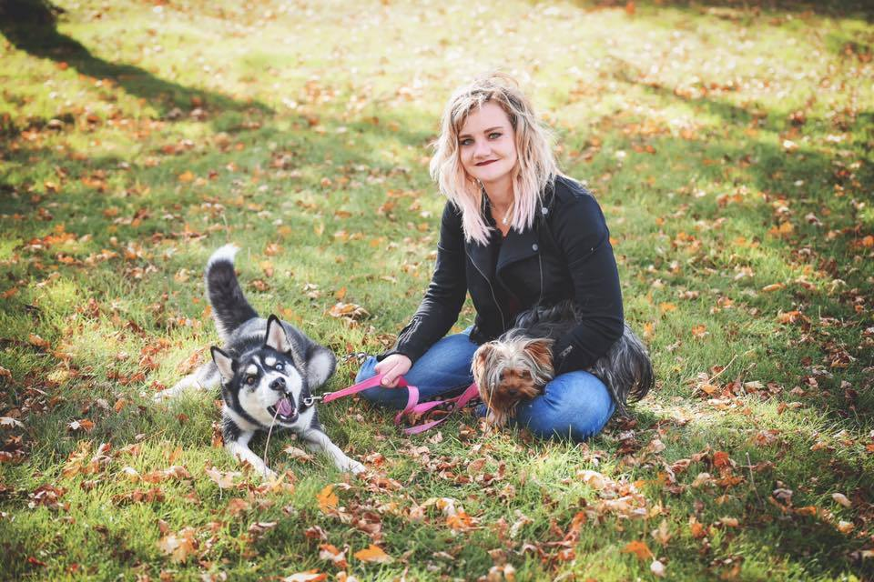 Paulina with her two dogs.