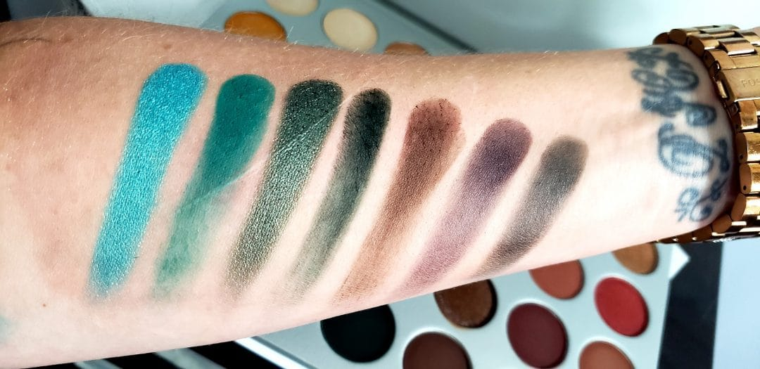 Row 5 swatches of jaclyn hill palette