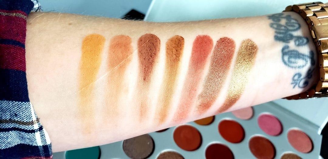 row 2 swatches of the jaclyn hill morphe palette