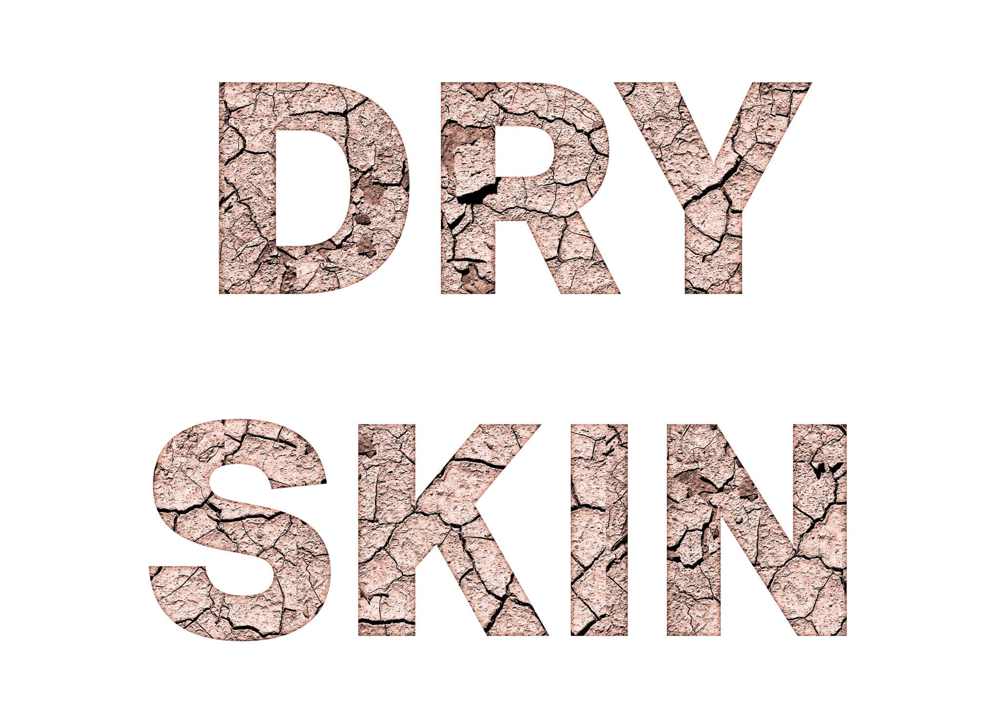 Dry skin word concept on white background