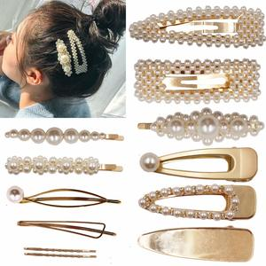 gold and pearls hair clips for girls