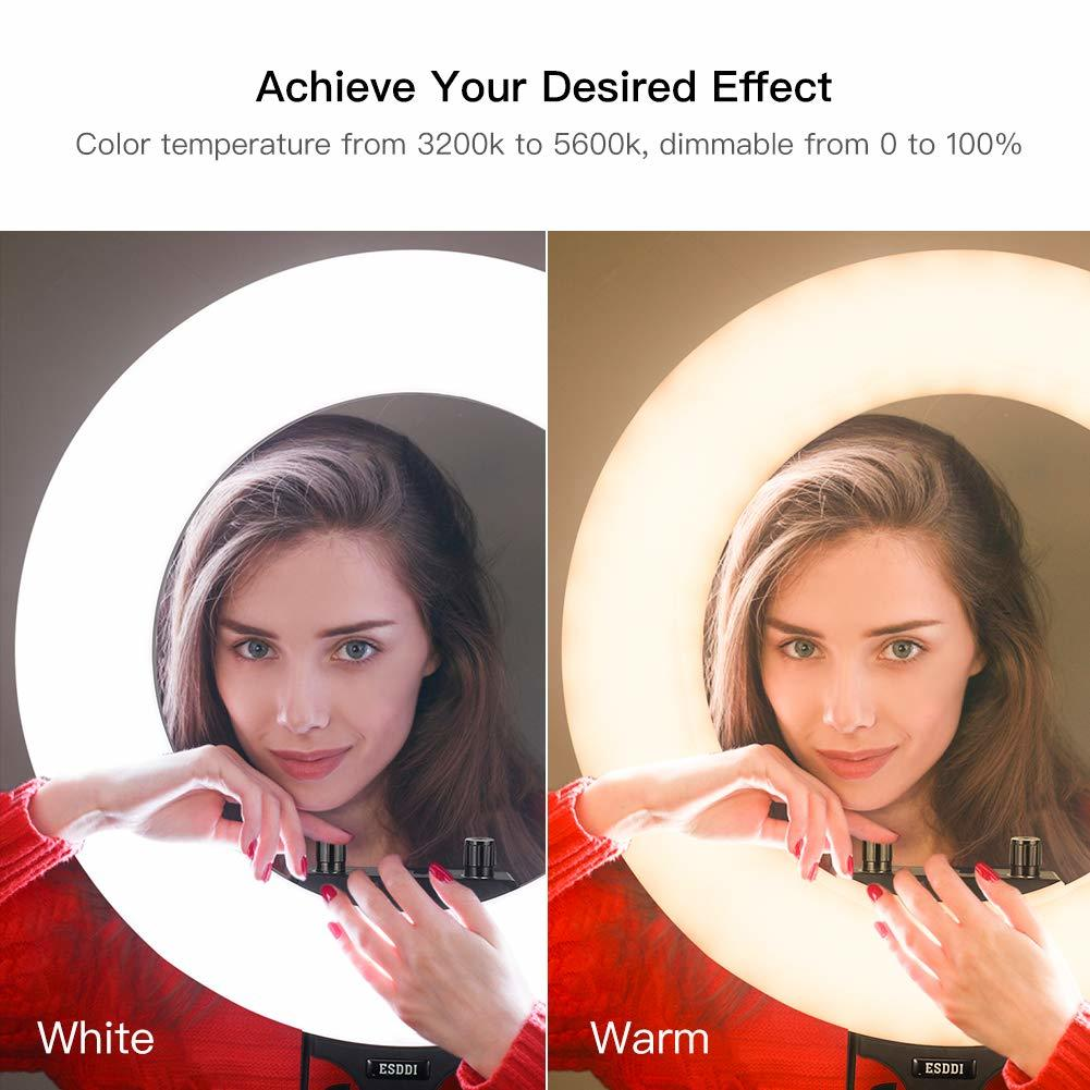 a side by side comparison of a woman using warm and neutral settings on a ring light