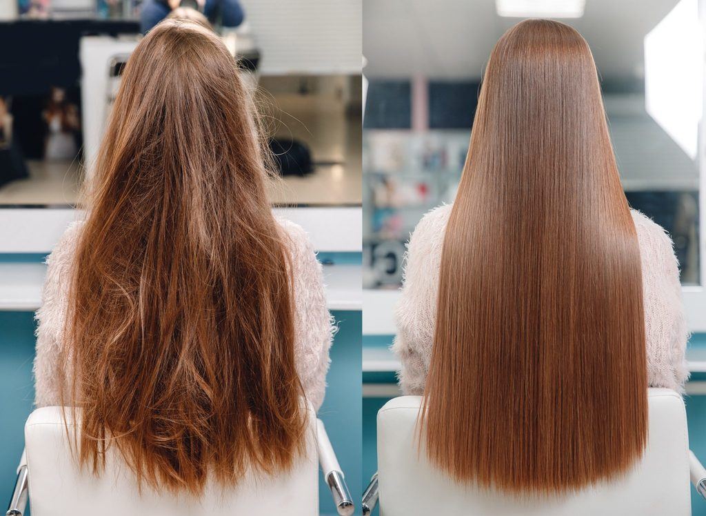 a before an after of damaged and healthy hair on a red head woman
