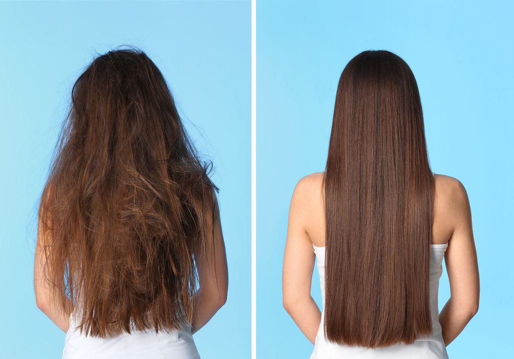 Woman before and after straightening her hair