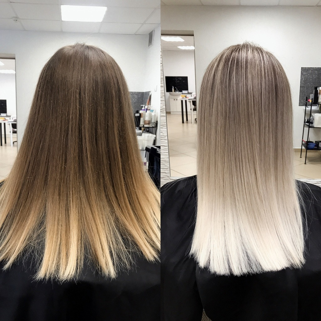 Before and after of toner on blonde hair
