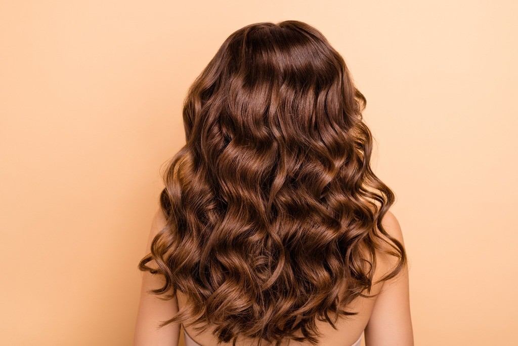 The back of a brunette womans head that has curly shiny hair
